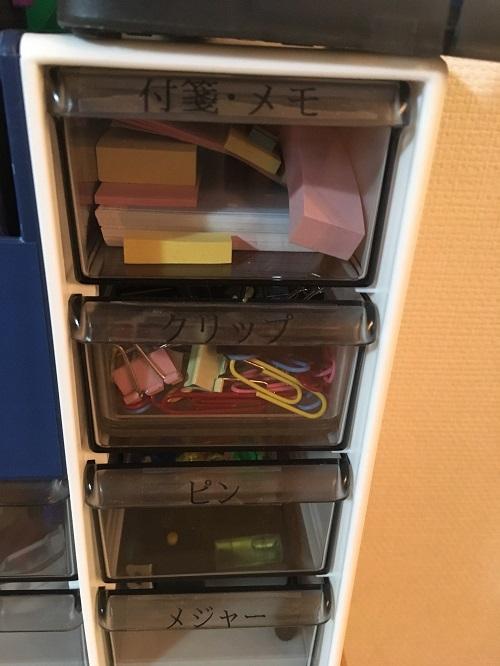 テプラでラベリングされた文房具箱の写真