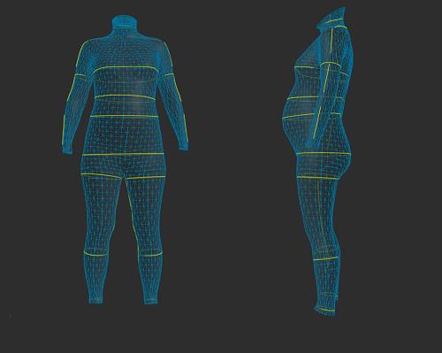 ZOZOスーツで計測した妊娠33週の体型の立体図