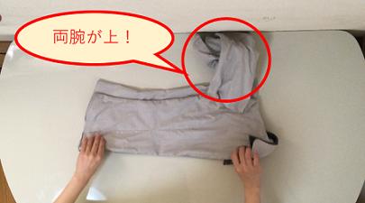 両腕が上にくるようにシャツを床に置いている説明写真