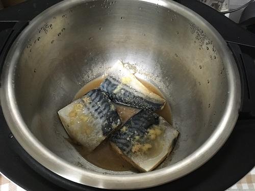 ホットクックで調理した後のサバの味噌煮