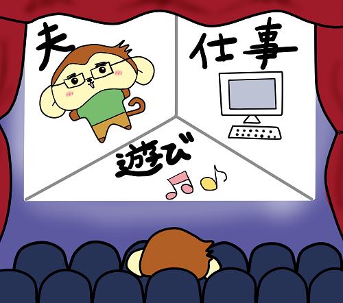 夫、仕事、遊びが映画のスクリーンに映っている