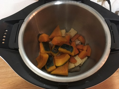 ホットクックで調理した後のカボチャの煮物