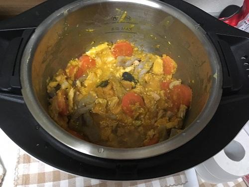 ホットクックの内鍋にカボチャの煮物が入っている