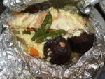 ホットクック調理した後の鮭のホイル焼き