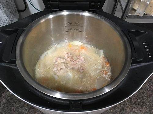 ホットクックで調理した後の豚汁