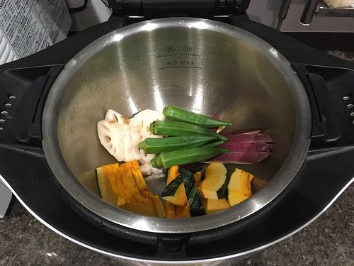 ホットクックで調理した後の蒸し野菜