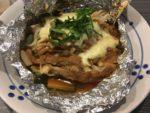 皿に盛られた豚味噌ホイル蒸し