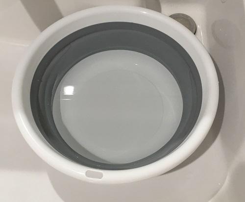 水を張った洗面器