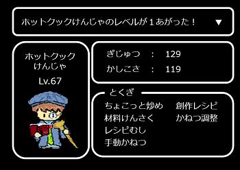 ke現在のステータスは、レベル67のホットクックけんじゃja_lv67